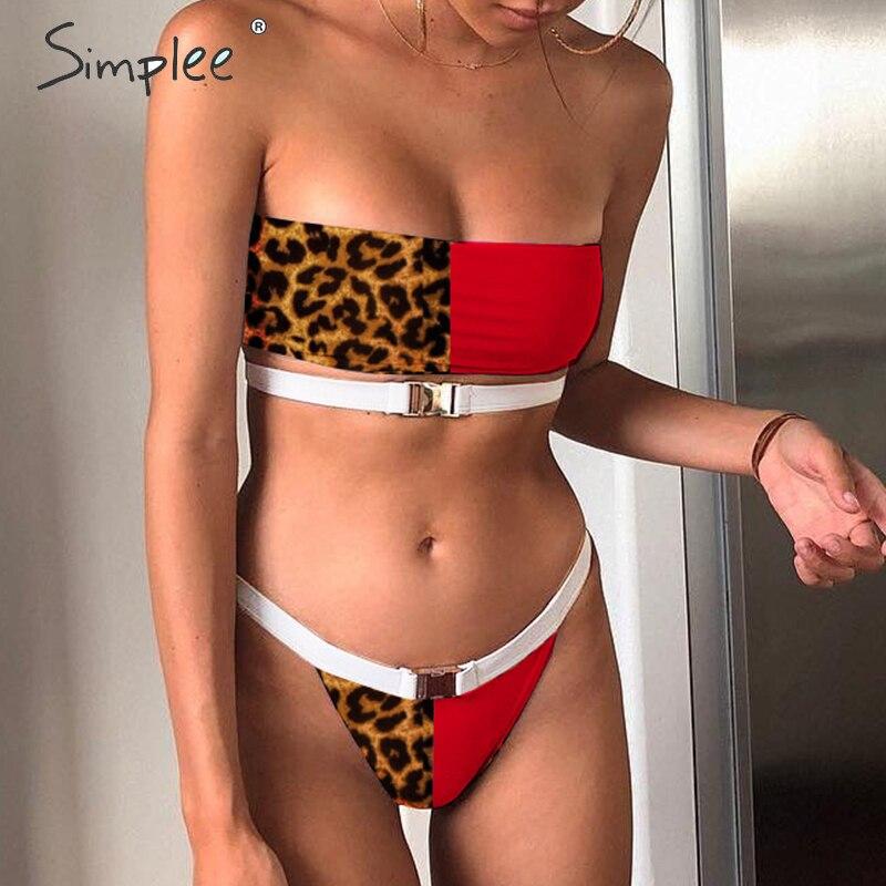 Simplee Buckle Leopard Print Bikini Micro Bandeau Top Swimwear Women Bathing Suit Biquini Summer Sexy Beach Swimsuit Female New