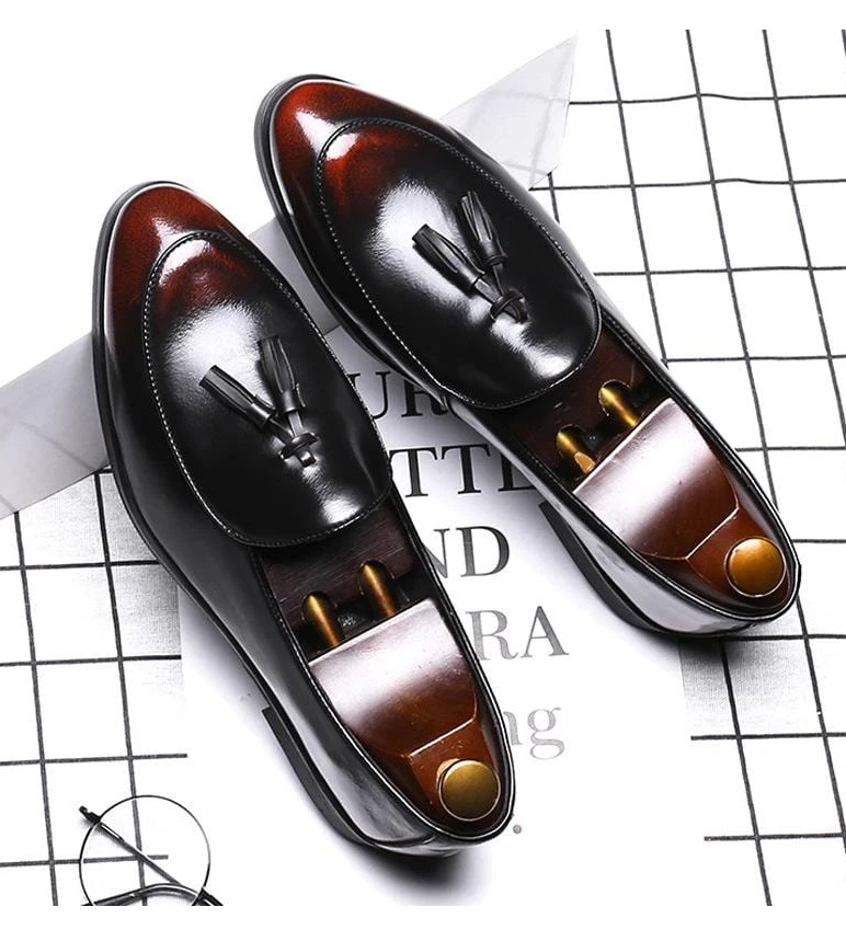 Men pu Leather Shoes Low Heel Fringe Shoes Dress Shoes Brogue Shoes Spring Ankle Boots Vintage Classic Male Casual F82
