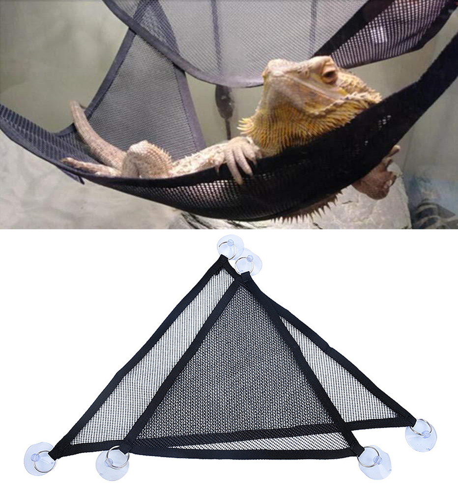 2pcs Reptile Hammock 33 X 33 X 48cm Nylon Mesh Lounger Reptiles Amphibian Supplies For Small Pets Bearded Dragons And Lizards
