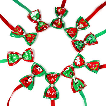 Reflective Tape Pet Christmas Series Pet Bow Tie Collar Belt Flash Diamond dog collar cat Accessories image