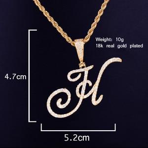 Image 2 - Zircon Cursive letter Necklaces & Pendant For Men/Women Gold Color Fashion Hip Hop Jewelry with 4mm Tennis Chain