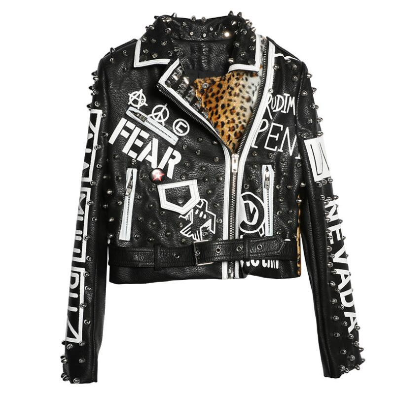 2020 Spring Graffiti printed rivet leopard pu leather jacket women stitching short motorcycle leather long-sleeved punk rock coa