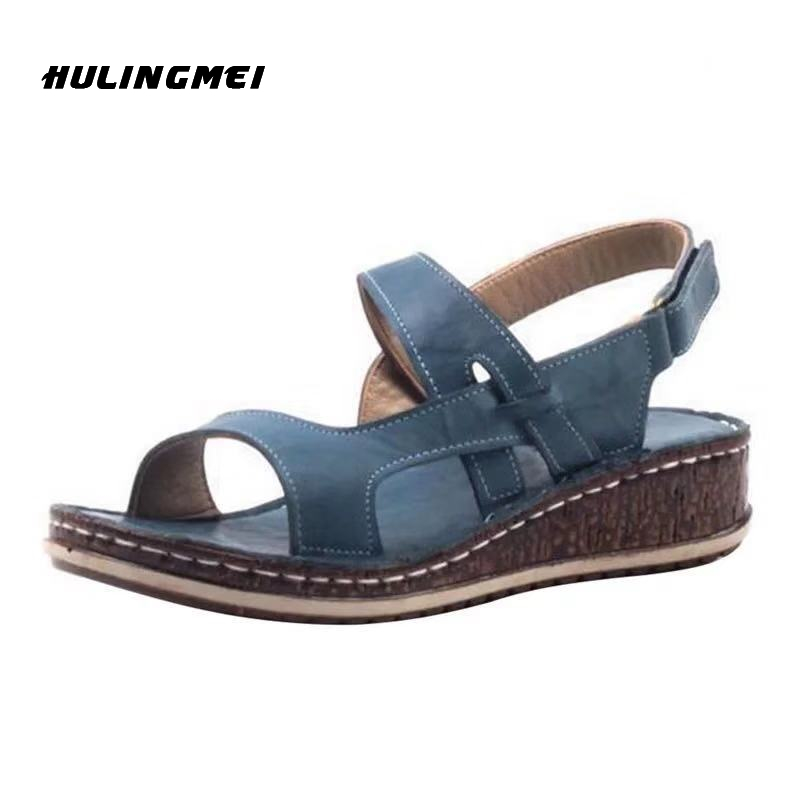 Women Summer Wedges Sandals Ladies PU Leather Flat Shoes Woman Platform Peep Toe Casual Female Beach Shoes