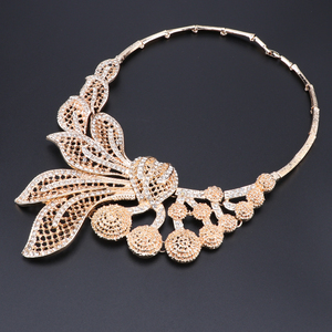 Image 4 - Bridal Gift Nigerian Wedding African Beads Jewelry Set Brand Woman Fashion Dubai Gold Color Jewelry Set Wholesale Design
