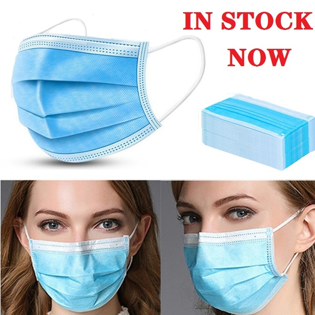 DHL 50/100PCS Fast Delivery! High Quality Non Woven Disposable Face Mask 3 Layers  Face Masks Ear loop Mouth Mask 1