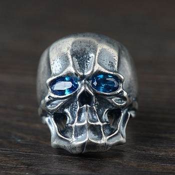 2020 New real solid S925 pure silver jewelry vintage Thai silver men ring Open skull silver ring for man
