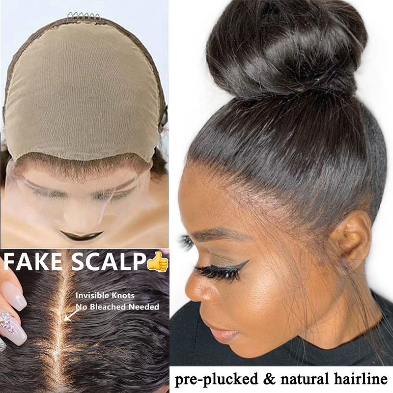 Straight Glueless Full Lace Human Hair Wigs 250 Density HD Transparent Fake Scalp Wig Pre Plucked With Baby Hair Dolago Remy
