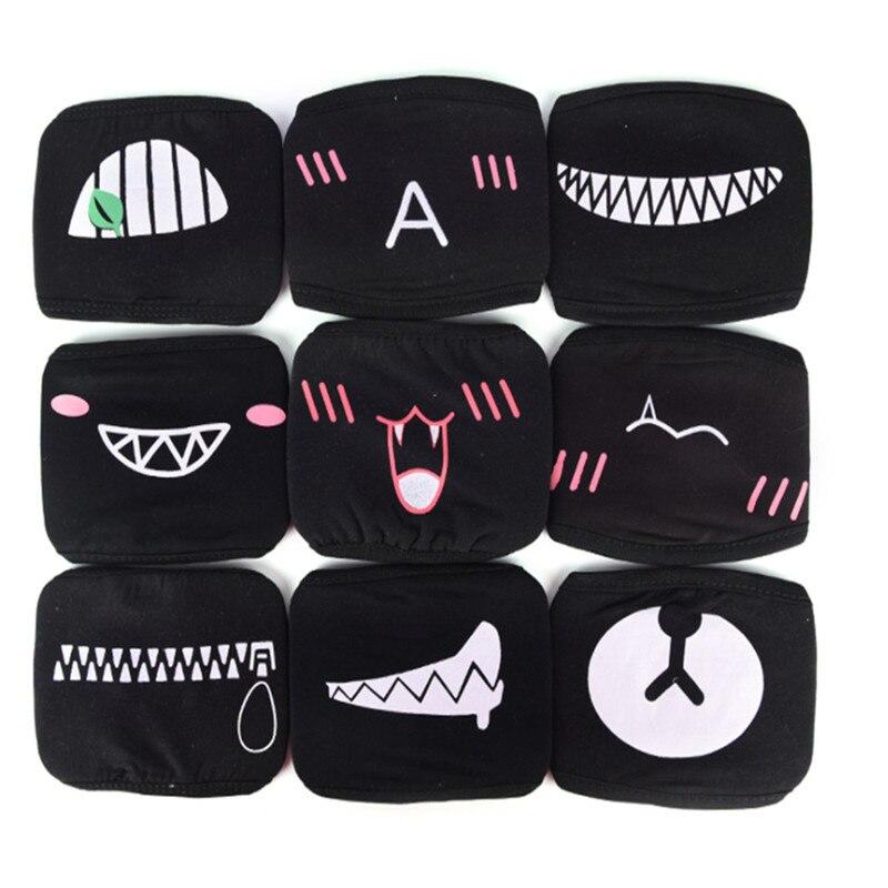 KPOP Face Mouth Masks Unisex Cute Anime Cartoon Expression Bear Kawaii Anti Dust Air Pollution Cotton Winter Warm Mask K-pop
