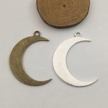 5 pçs lua charme 43*32mm tibetano prata chapeado pingentes antigo jóias fazendo diy artesanal artesanato