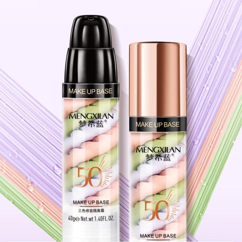Loción de aislamiento mixto de tres colores rellena los poros que iluminan la Base de la piel Base de maquillaje corrector líquido recomendado