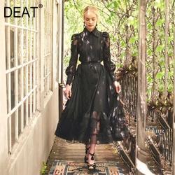 DEAT 2020 Neue Frühjahr Mode Frauen Revers Mesh Stickerei Splice Shirt Und Hohe Taille A-linie Plissee Rock Vintage Anzug PD127