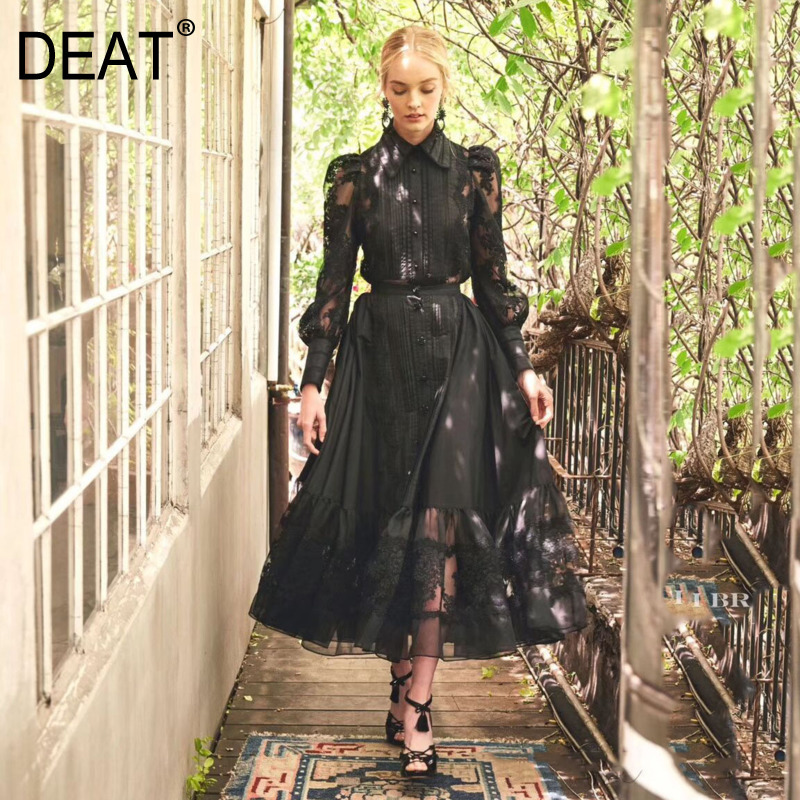 DEAT 2020 New Spring Fashion Women Lapel Mesh Embroidery Splice Shirt And High Waist A-line Pleated Skirt Vintage Suit PD127