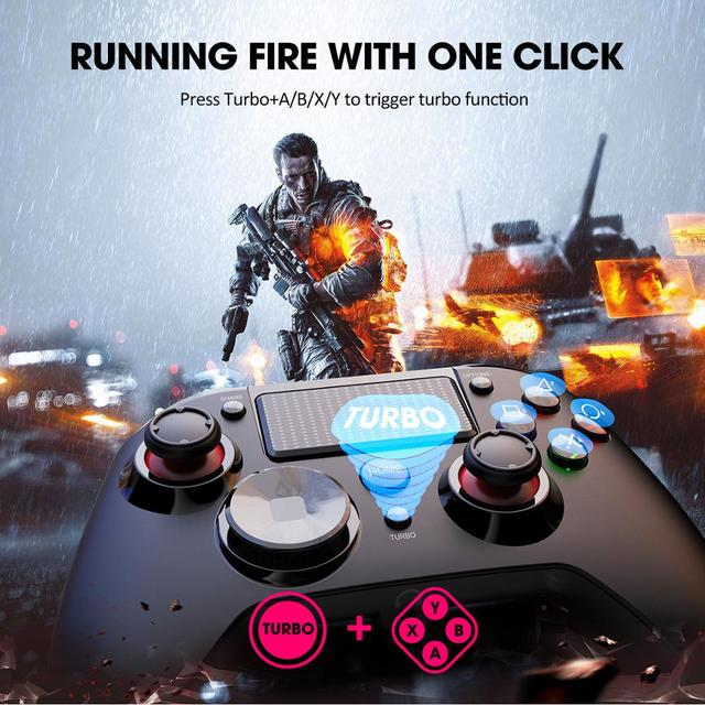 Pictek Wireless Gaming Controller for PS4/PC Rechargeable Gamepad with Audio Port/Dual Vibration/Turbo Linear Trigger Joypad 6