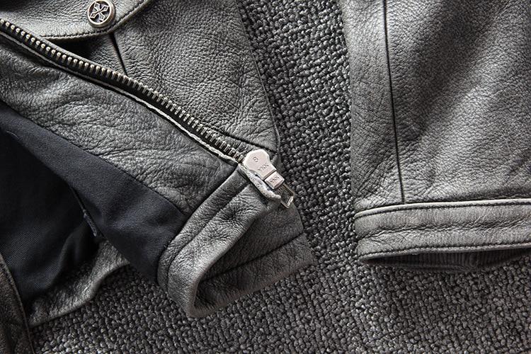 Masculino clássico real couro de vaca casaco
