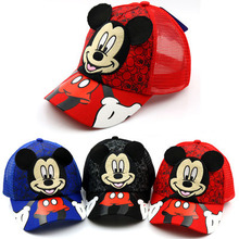 Cartoon Mickey Mouse Hat Children Boys And Girls Baseball Adjustable Black White Caps Outdoor Sunscreen