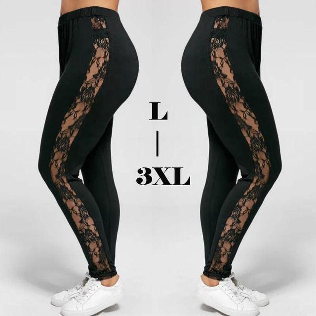 Plus Size L-3XL Sexy Women Lace Pants Black Insert Sheer Leggings Elastane Leggings 3