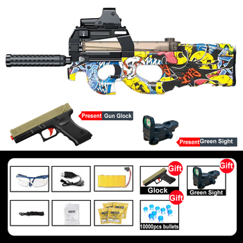 2020 Electric P90 Graffiti Edition Toy Gun Snipe Simulation Glock Gifts Weapon Outdoor Soft Water Bullet Gun Toys For Boys Kids сланцы rider rider ri163amdqvf1