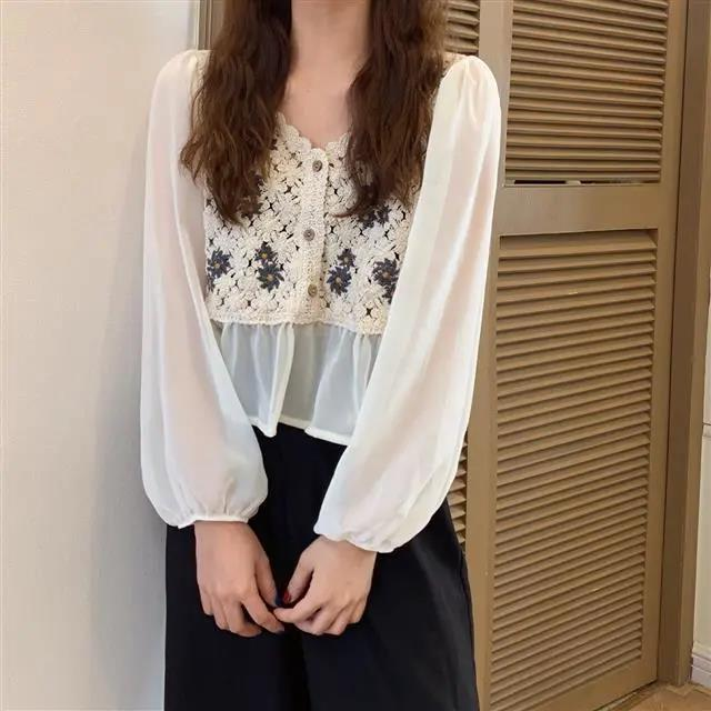 New White Vintage Embroidery Chiffon Blouses Women Sexy Puff Sleeve Tops Elegant Lady Ruffles Shirts Fall Blusas Mujer Plus Size 6