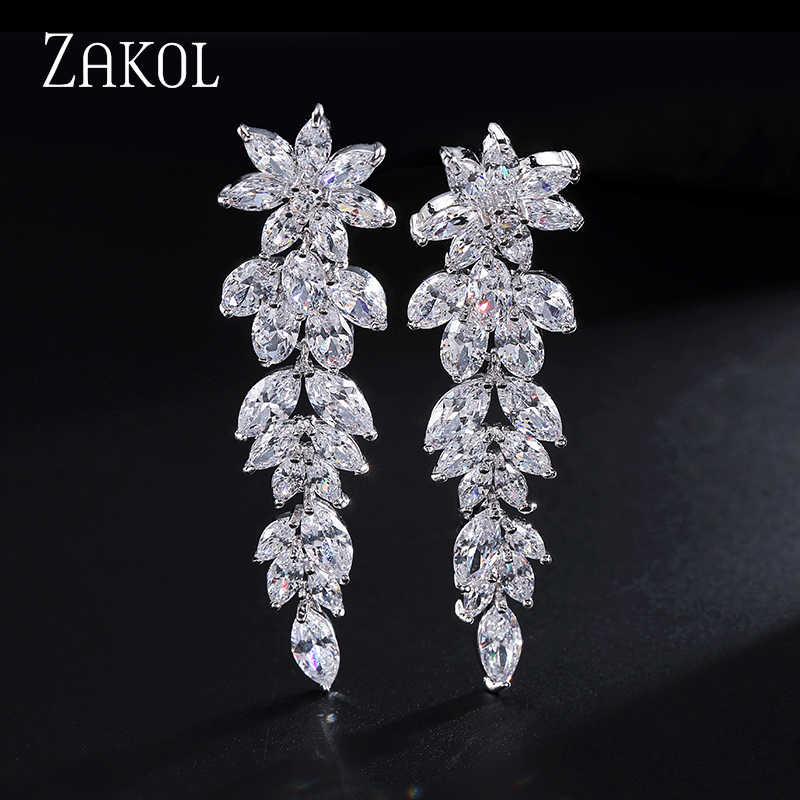 ZAKOL Luxury Gorgeous Marquise Cluster Flower Shape Cubic Zirconia Long Dangle Drop Earrings for Brides Wedding Jewelry FSEP005