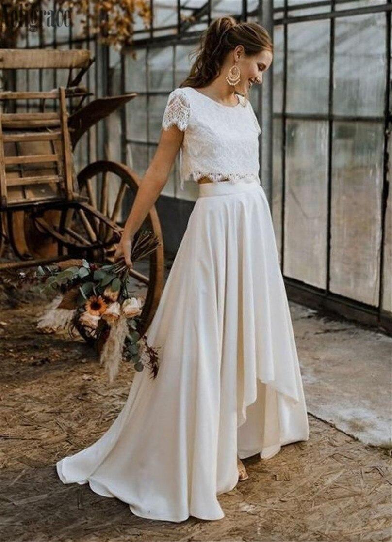 2020 New Bohemain Two Pieces Lace Wedding Dresses O-Neck High-Low Sweep Train Garden Bridal Gowns Beach Vestidoe De Noiva Custom