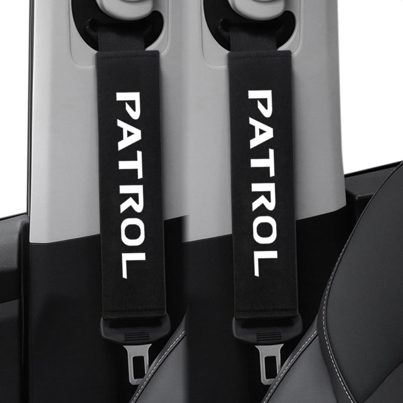 2pcs Auto Shoulder Pads Cover Case For Nissan Patrol Y60 Y61 Y62 Car Emblem Accessories Car Seat Belt Cover