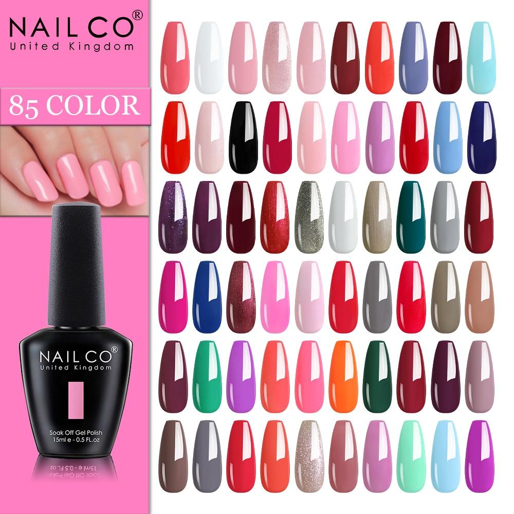 NAILCO 85 цветов гель для ногтей УФ светодиодный 15 мл Лак для маникюрный лак гибридные полупостоянные Лаки гибридные ногти