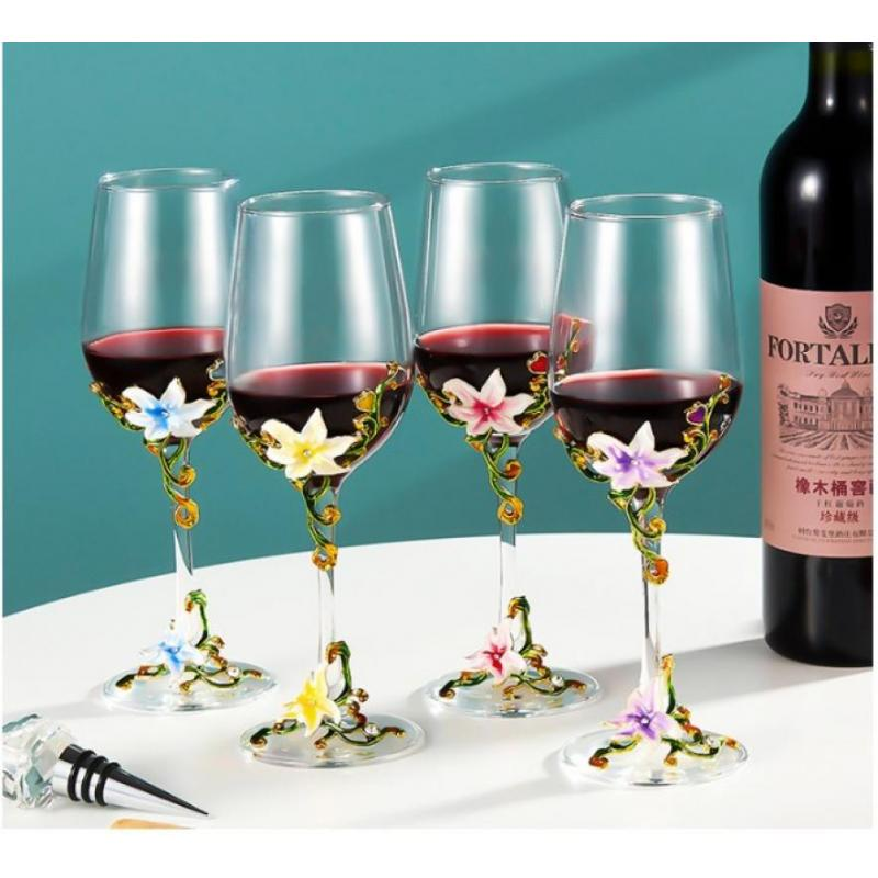 320ml European Enamel Red Wine Glass Cup Retro Goblet Lead-Free Crystal Cups Champagne Glasses Cups Wedding Gift Party Drinkware
