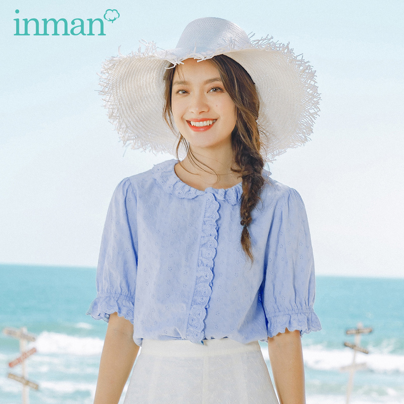 INMAN 2020 Summer New Arrival Pure Cotton French Style Falbala Cute Short Sleeve Blouse