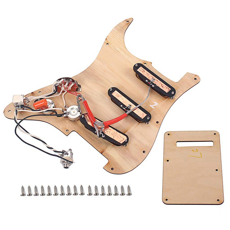 Prewired Loaded Pickguard Sss Pickups Scratch Plate With Back Cover Maple Wood For Strat St Electric Guitar Accessory - 5