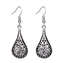 MYTHIC AGE Unique Tibetan Silver Color 3D Stereoscopic Hollow Out Water Drop Earrings For Women Dangle Earring Vintage Jewelry