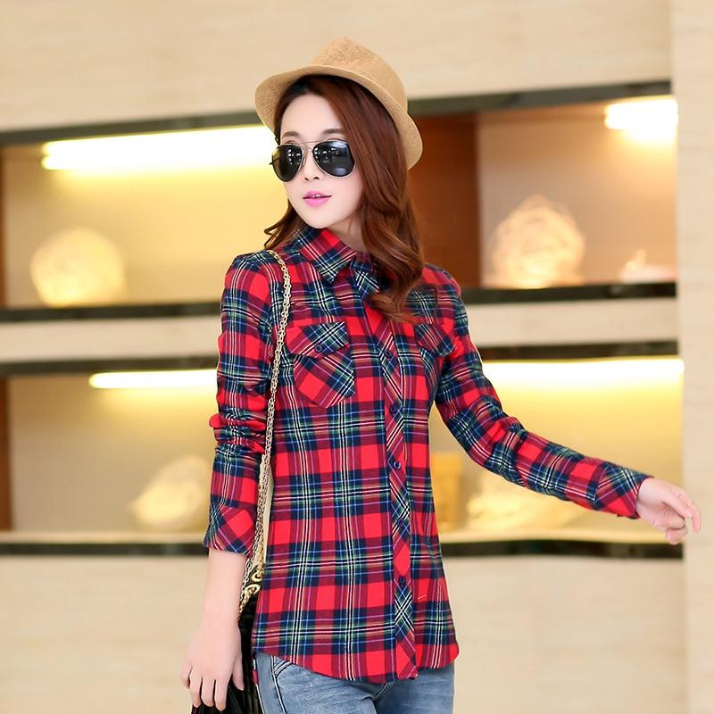 Autumn Spring Blouses Fashion Turn Down Collar Cotton Tops Women's Plaid Shirt Office Work Slim Long-Sleeve Shirts Blusas Mujer 12