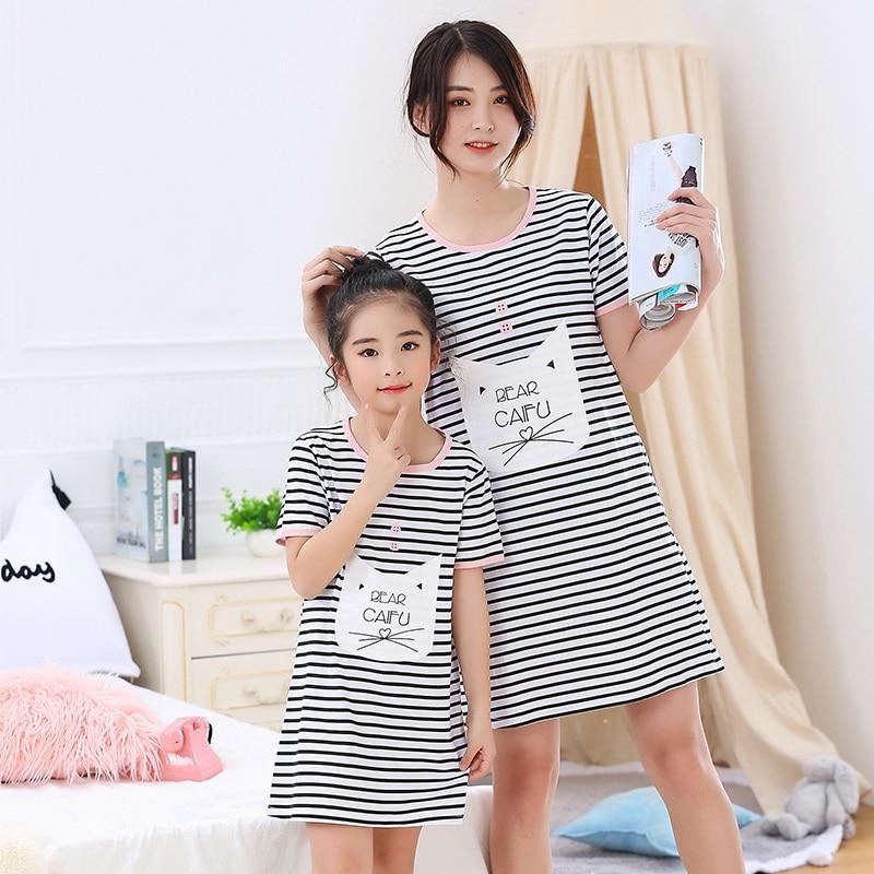100% Cotton Girls Nightgown Pajamas Children's Summer Nightdress Baby Girls Home Clothes Mother Kids Night Dress Girl Sleepwear