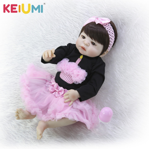 23-inch bebe reborn full silicone rebirth doll simulation baby girl can enter the water high-grade acrylic eyes(China)