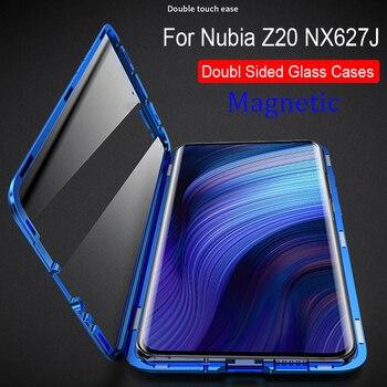 Перейти на Алиэкспресс и купить Для zte Nubia Z20 NX627J Магнитный чехол 360 Передний + задний двухсторонний 9H чехол из закаленного стекла для Nubia Z20 NX627J металлический бампер чехол