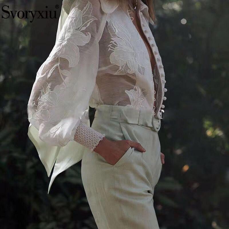 Svoryxiu élégant fleur broderie Blouse chemise femmes lanterne manches perle simple boutonnage bureau dame chemise Blouse haut