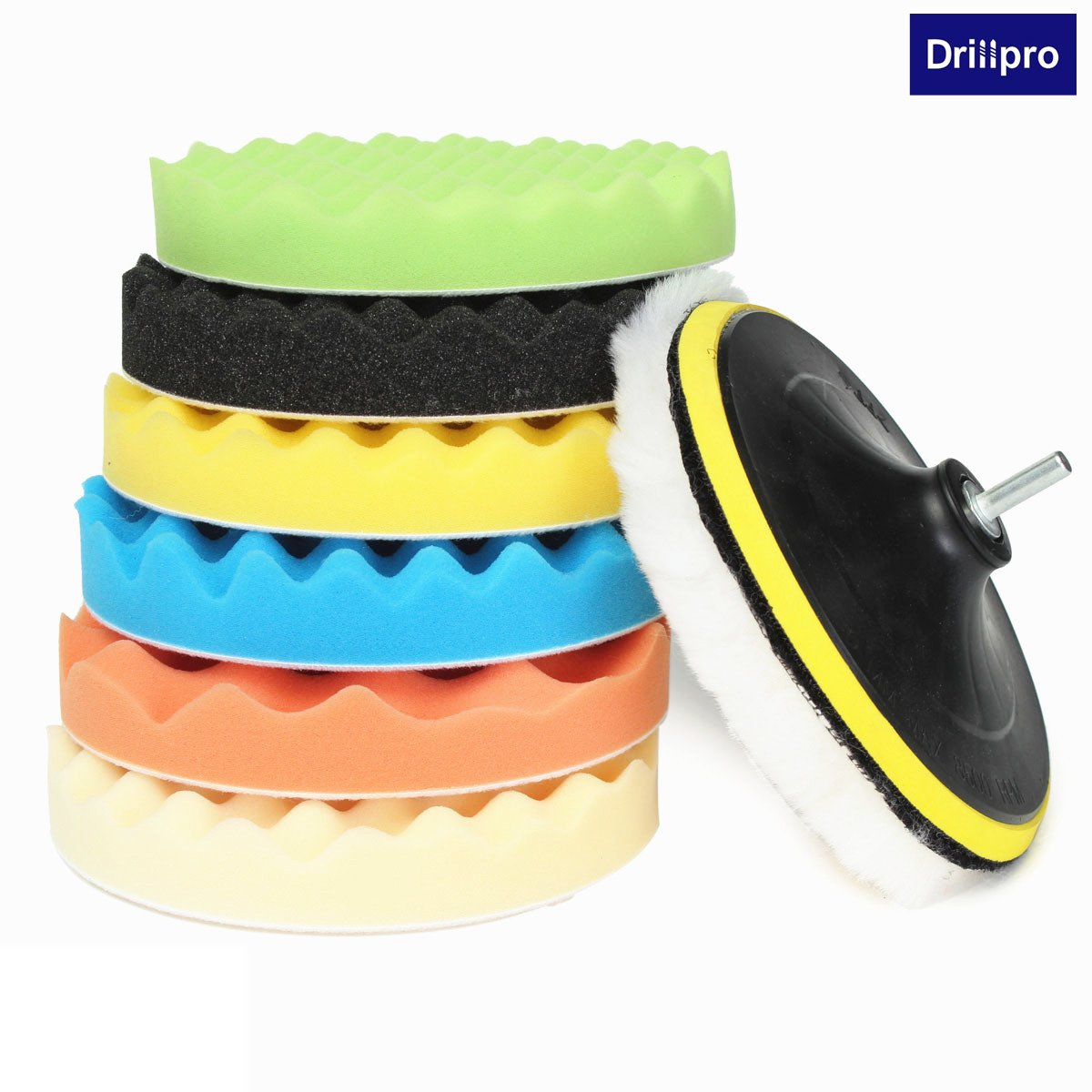 8Pcs 7 Inch Car Polishing Waxing Buffing Pad Kit Compound Sponge Foam For Compound Auto Car Polisher With Drill