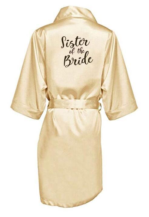 champagne gold robe bride satin kimono robe women wedding sister of the bride printing bridesmaid bridal