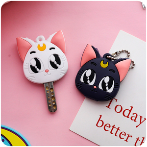Sailor Moon Luna Cardcaptor Sakura Cat Keychain Cover Cosplay Prop Pendant Keyring Key Chain Anime