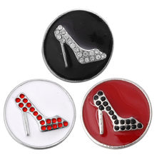 5pcs/lot New Snap Jewelry High-Heeled Shoes Metal Snap Buttons Fit 18mm Snap Button Bracelet Bangle Button Jewelry For Women(China)