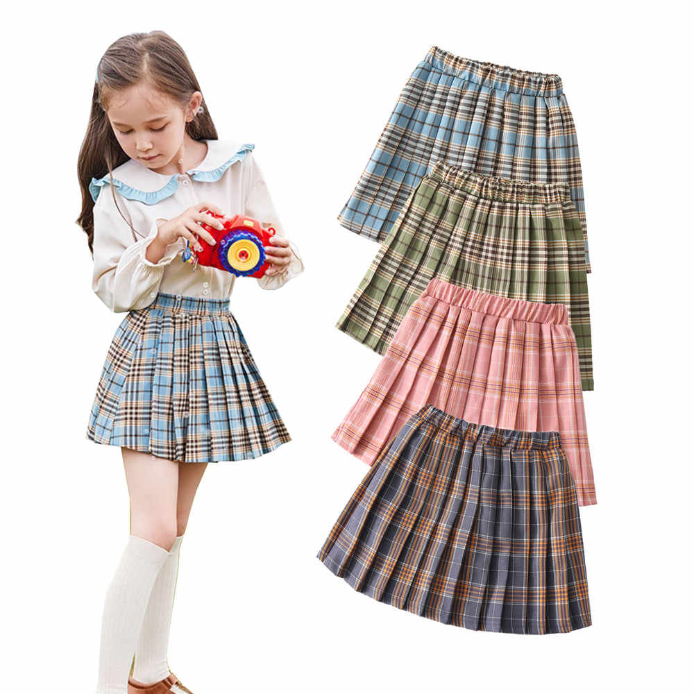 Năm 2020 Thời Trang Cho Bé Gái Kẻ Sọc Váy 1 7Y Trẻ Em Mùa Hè Thu Kẻ Sọc In  Xếp Ly Đa Năng Co Giãn Eo Xòe Mini Vận Động Viên