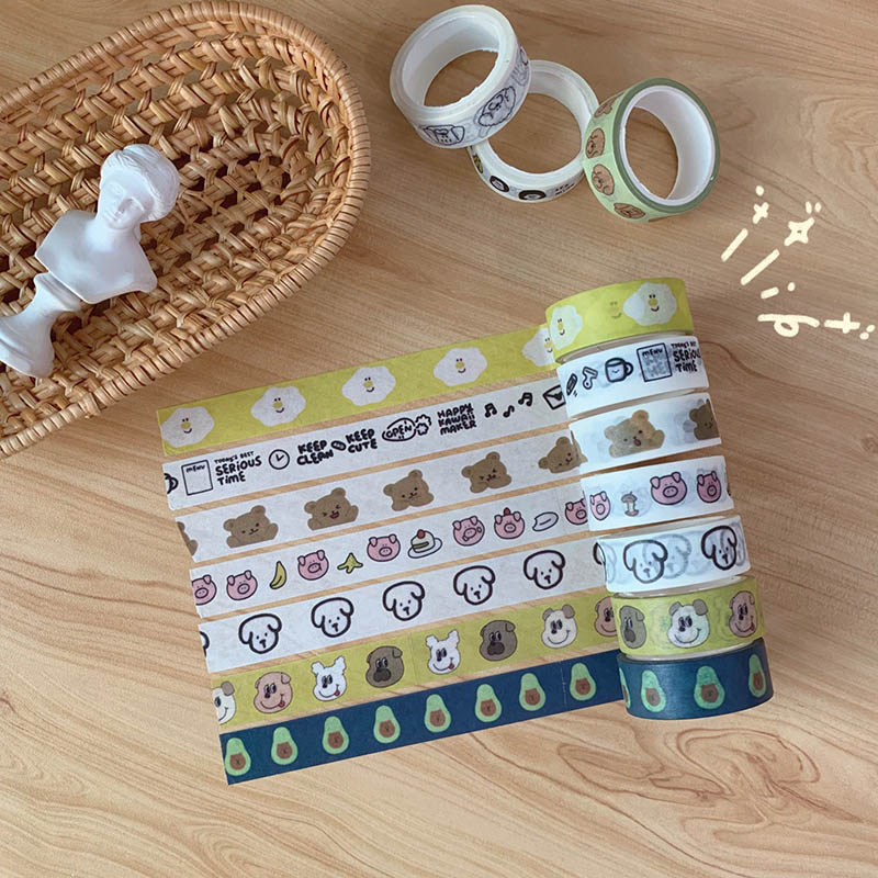 1 Pc Kawaii Dog Decorative Adhesive Tape Cute Bear Washi Tape  For Sticker Scrapbooking Label Stationery Tape
