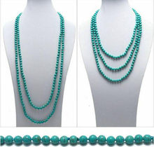 "New Genuine Natural Turquoise 80"" Long 8mm Bead Stranded Necklace(China)"