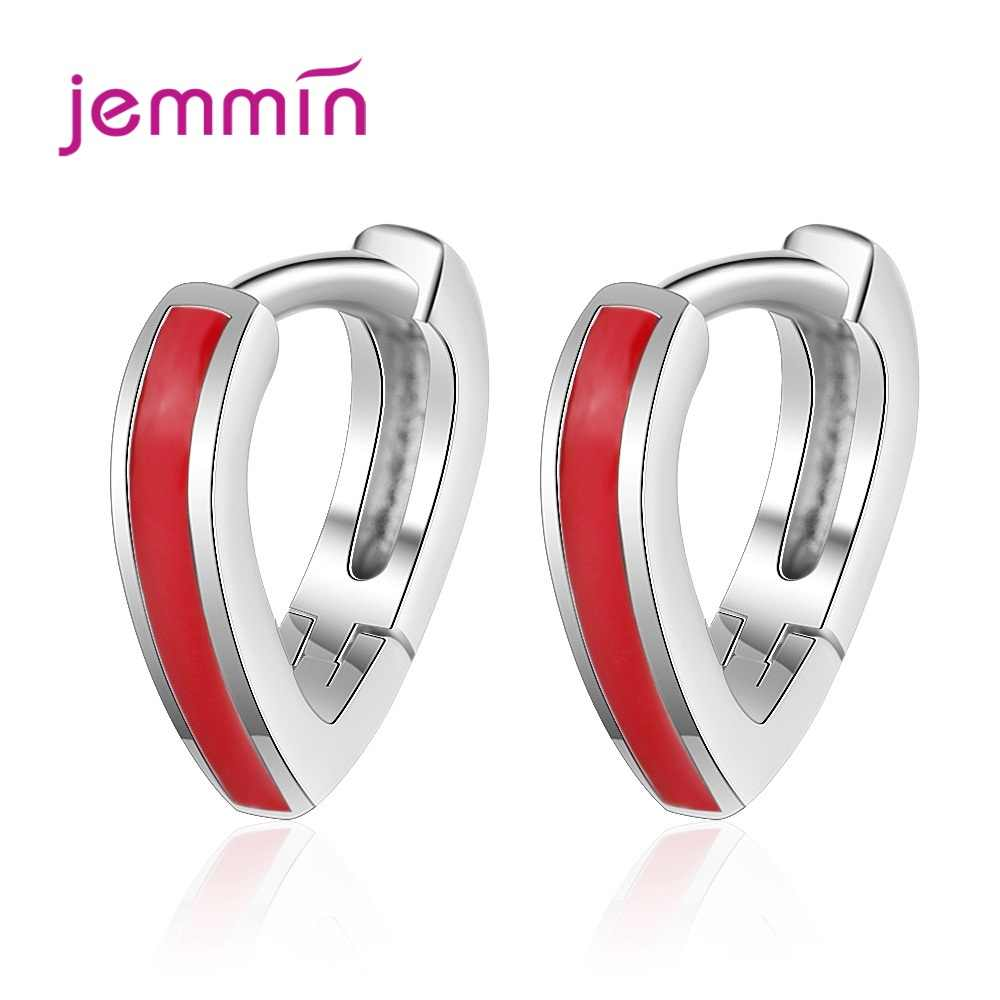 Simple 925 Sterling Silver Hoop Earring Girl Jewelry Red Hollow Heart Earring For Women Charm Anniversary Accessories