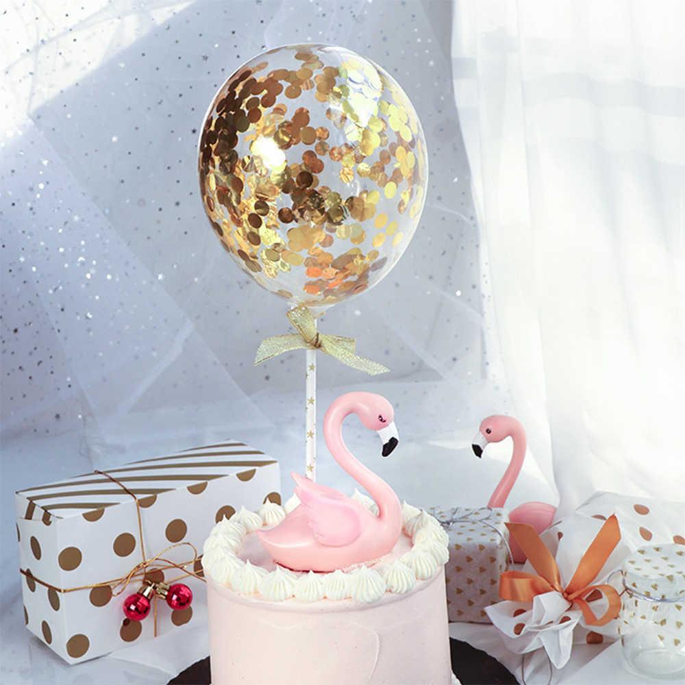 5 นิ้วConfetti Glitterบอลลูนเค้กToppersมินิเลื่อมLatexบอลลูนหัตถกรรมสำหรับเค้กวันเกิดเค้กตกแต่ง