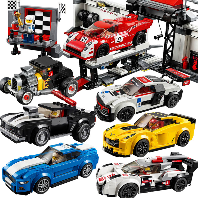 Champion Speed City Super Race Car Audi R8 GT 911 Ford Mustang Bugatti Compatible DECOOL Technic Boy Building Blocks Toys Gifts image