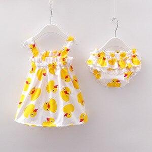 2020 noworodków dziewczynek ubrania bez rękawów sukienka + figi 2 sztuk stroje zestaw kaczka drukowane urocze ubranka zestawy lato Sunsuit 0-24M