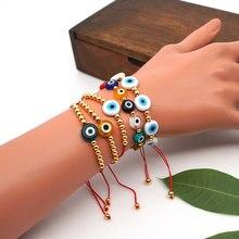 GO2BOHO – Bracelet œil turc pour femmes, bijoux d'été multicolores, corde empilable réglable à la main