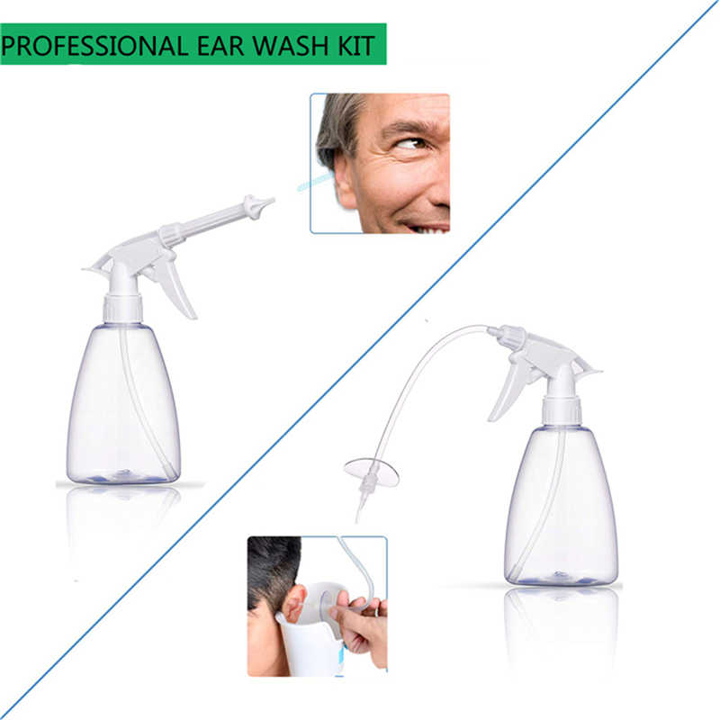 300/500 Ml Telinga Cleaner Irigasi Alat Telinga Lilin Penghapusan Botol Semprot Telinga Cleaning Mencuci Jarum Suntik Squeeze Bulb Kit THT Alat