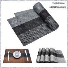 Tapis antidérapant pour Table à manger 30x180cm, ensemble de 4 sets de Table en PVC, gris, noir, imperméable