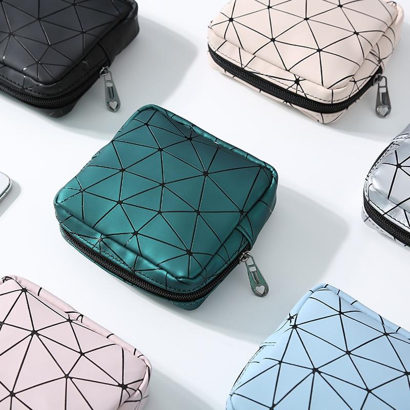 2020 NewPortable Multifunctional PU Leather Women Menstrual Pad Storage Bag Rhombus Sanitary Napkin Organizer Pouch Cosmetic Bag